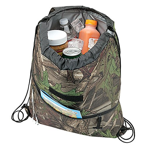 Camo Insulated Drawstring Backpack Cooler Bag...water-tight PEVA lining