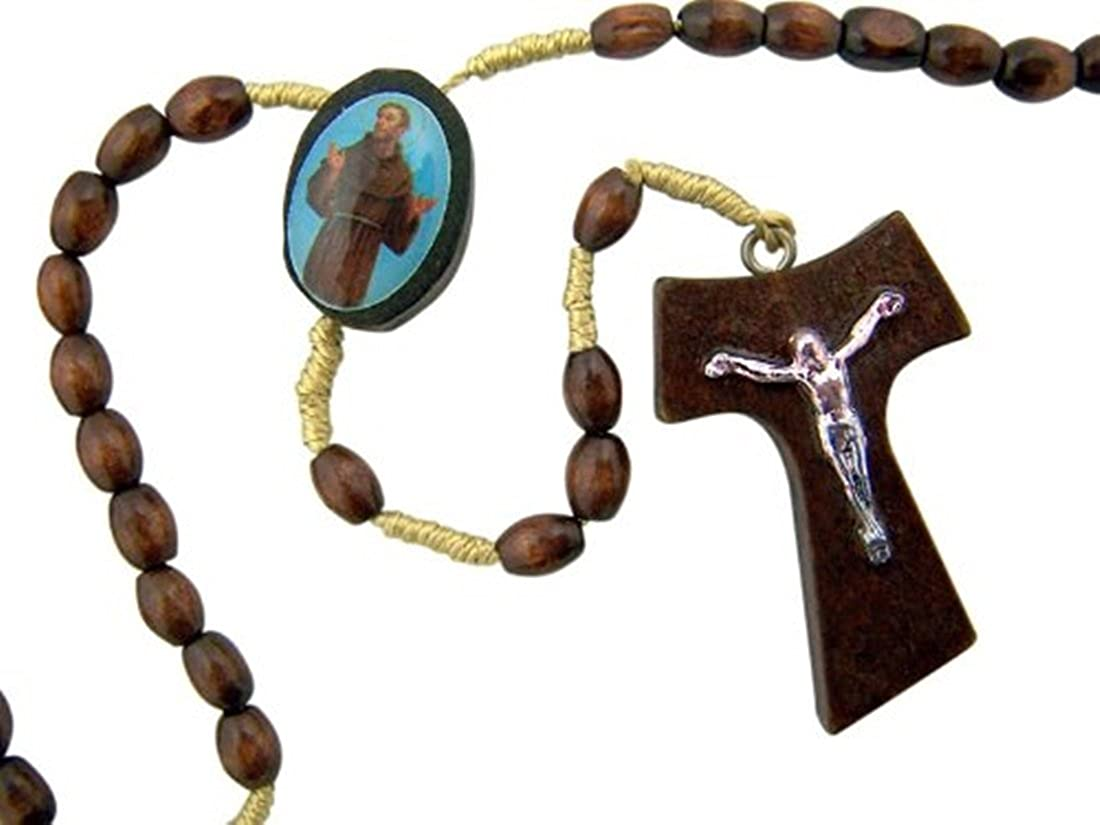 Brown wood and gold rosary beads on cord with Francis of Assisi cross gift