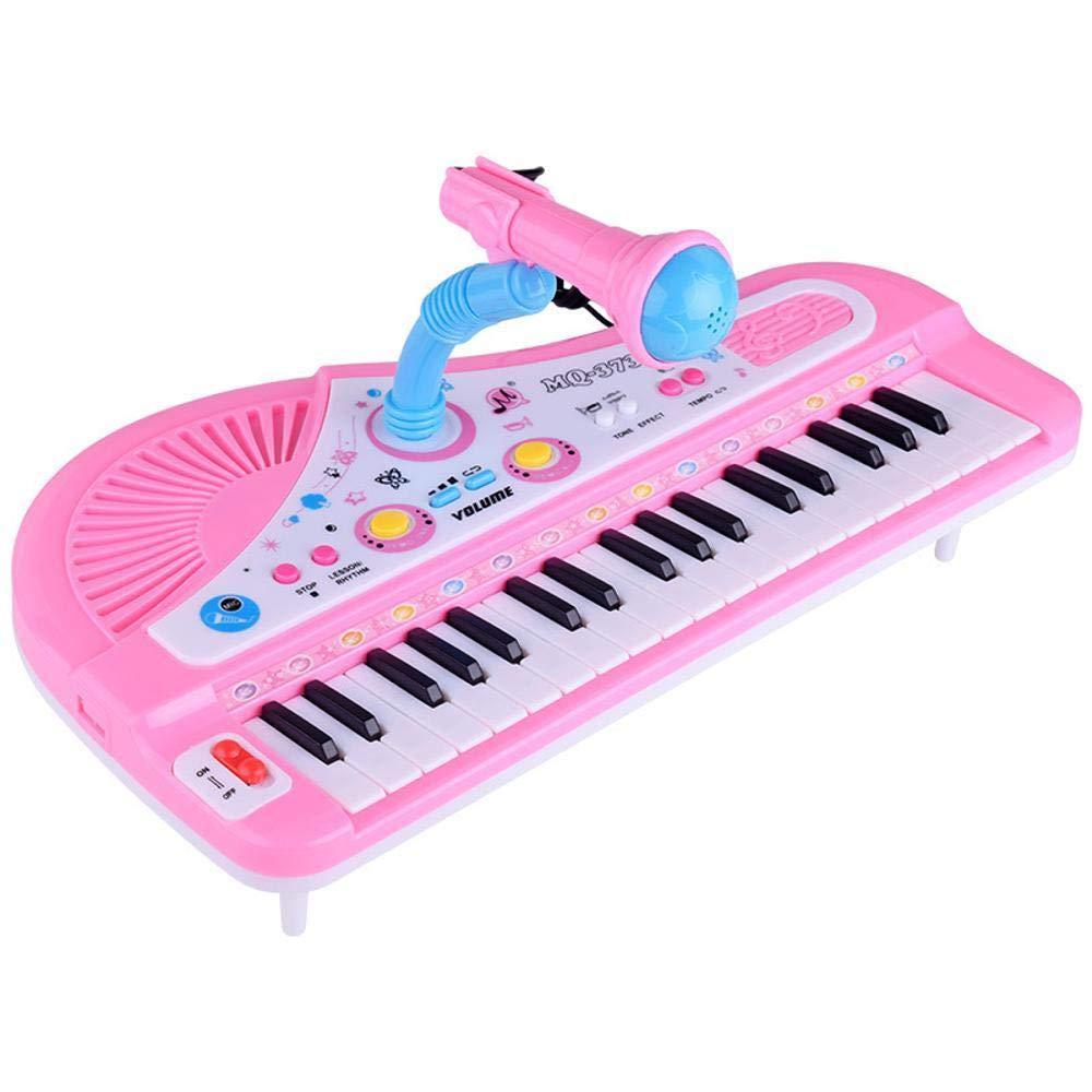 DYMAS Carica di 37-Pulsante di Strumento Musicale per Bambini con Microfono Tastiera Multifunzione Musica Pianoforte Giocattoli