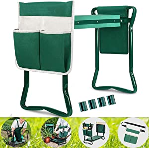 Garden Kneeler Seat, Upgraded Folding Gardening Bench Stool, Portable Garden Chair with 2 Large Tool Pouch, Sturdy Working seat for Outdoor Indoor, Gardening Gifts for Gardeners