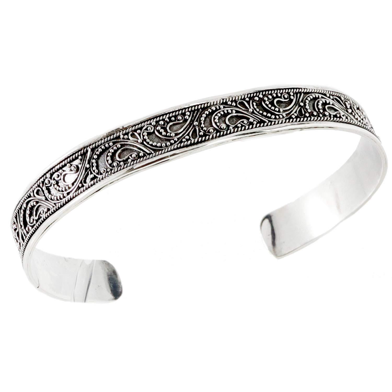 Old Sterling Silver Gypsy Bracelet Sterling Silver Bali Style Cuff Boho Cuff Sterling Silver Scroll Bracelet