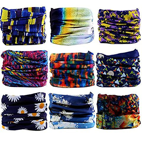 16-in-1 4/9 Pcs Multifunctional Style Yoga Sports Fashion Travel Colors Headband Seamless Neck Uv Solid Moisture Wicking Bandana Turban Scarf (style (Tennis Big Time Rush)