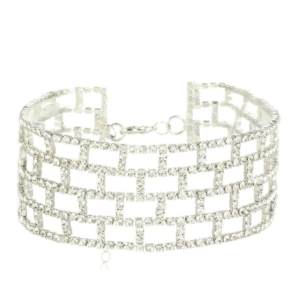 Fashion Choker Necklace, Geetobby Women Crystal Multi-Layer Diamond Rhinestone Chain Luxurious Choker Necklace Grid Choker Necklace