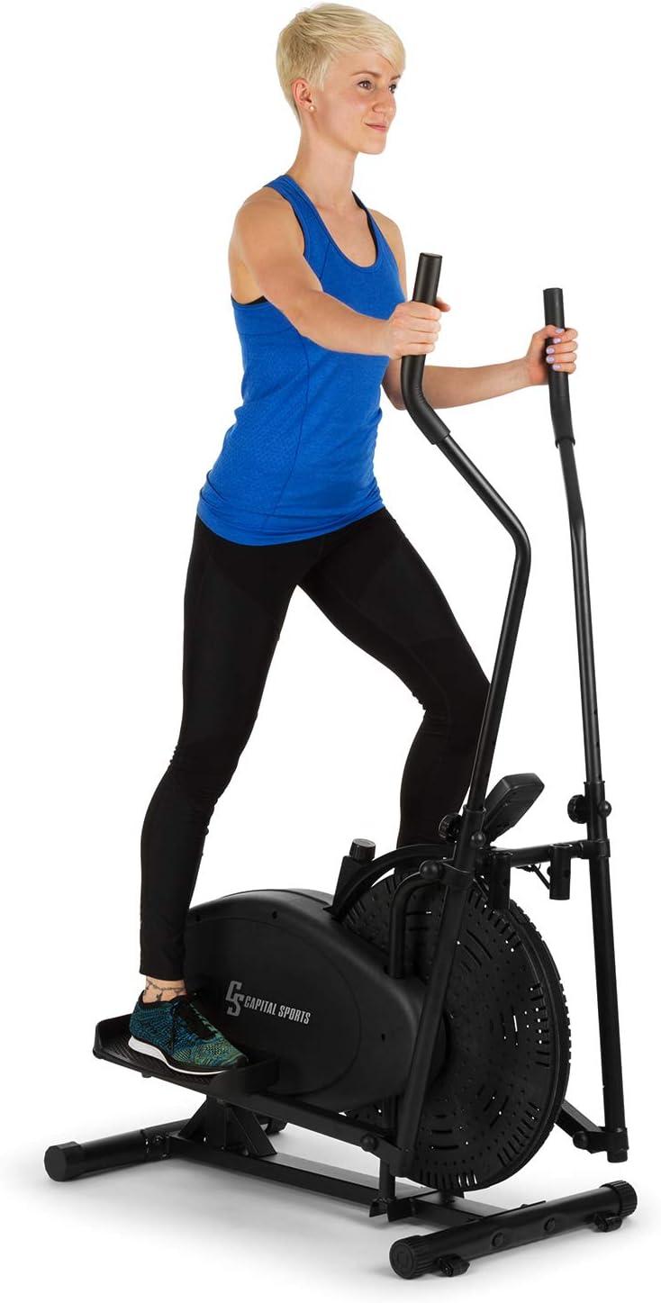 CapitalSports Orbifit - Máquina de Correr elíptica, Bicicleta elíptica, Manillar con Altura Regulable, Estructura de Acero, Agarre Acolchado, Pedales Antideslizantes, hasta 100 kg, Antracita