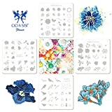 CICI&SISI Nail Art Stamping Plates Kit Layered Flower Plate Manicure Template, 4 Piece