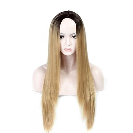 La peluca recta de 68 cm de longitud es un cabello castaño claro que se puede