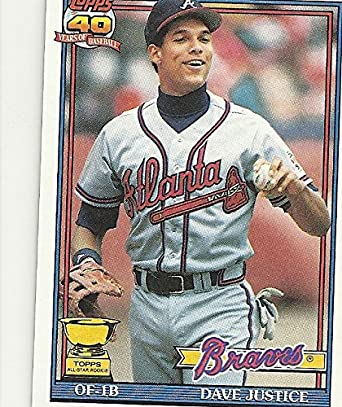 1991 Topps 40 Years Of Baseball Topps All Star Rookie Dave Justice