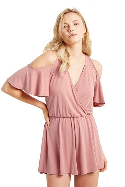 a117000a2342 Amazon.com  Poshsquare Women s Cold Shoulder Short Sleeves V Neck High  Waist One Piece Flared Romper USA  Clothing