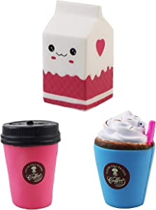 Aqueens 3pcs Jumbo Size Prime Slow Rising Squishies Kawaii Sweet Scent Stress Relief Toys Milk Cups Series Squishy Toys for Kids