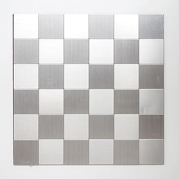 Mosaik Fliese selbstklebend Aluminium silber metall metall für BODEN ...