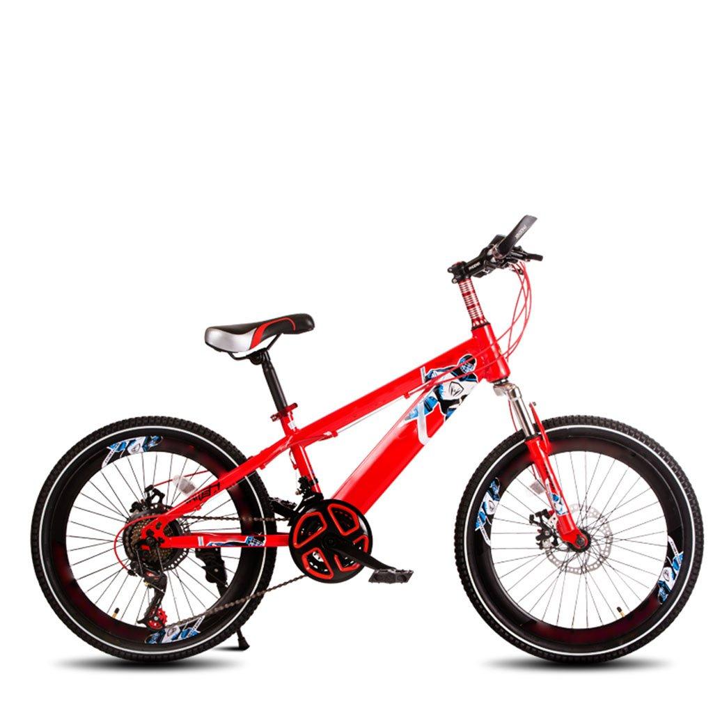 子供用自転車、学生用可変速自転車ダンピングマウンテンバイク B07C6FX92H赤