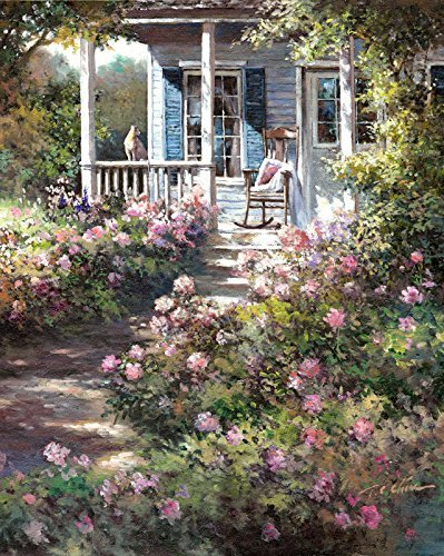 - Front Porch and Spring Flowers print of Watercolor Painting - Nature, Flowers, Peaceful Gifts, Gift for Ladies, Spring
