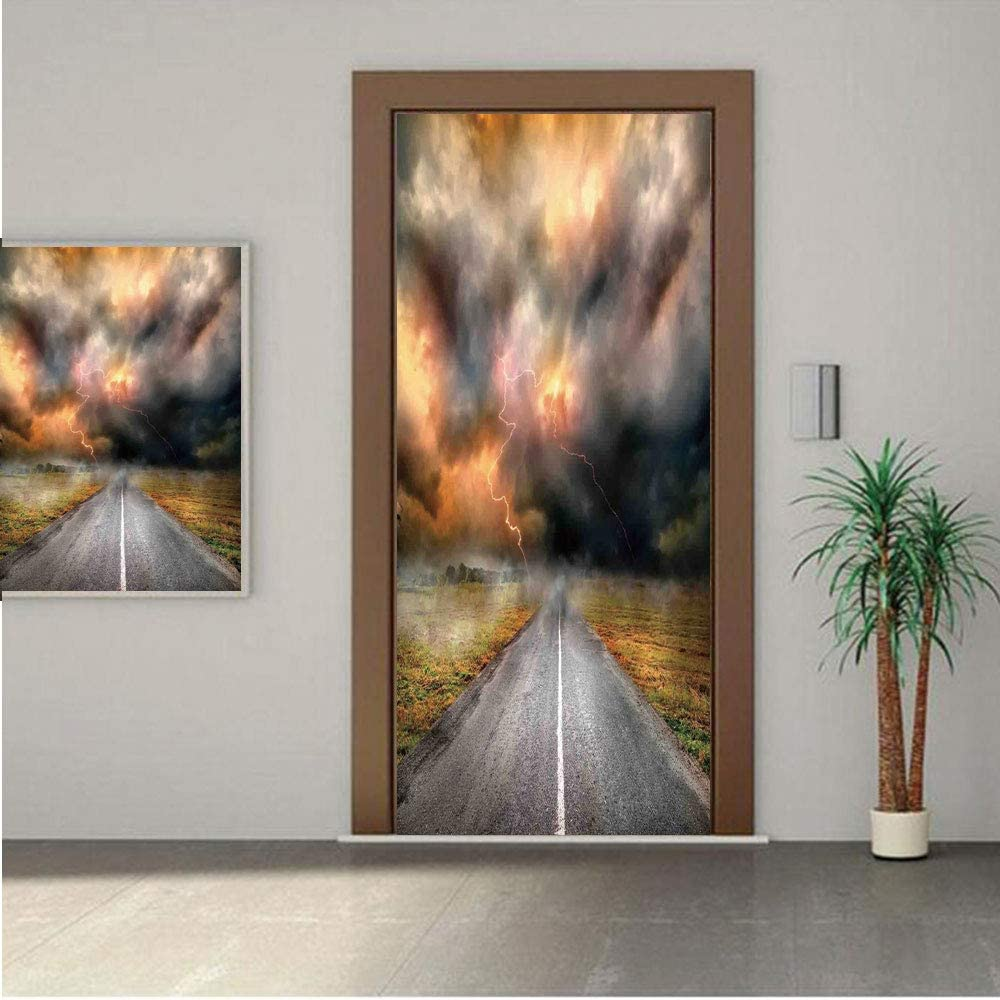 Ylljy00 Lake House Decor Door Wall Mural Wallpaper Stickers,Dusty Storm Clouds and Lightning Over Highway in The Field Electrical Activity Print 30x80 Vinyl Removable Decals for Home Decoration