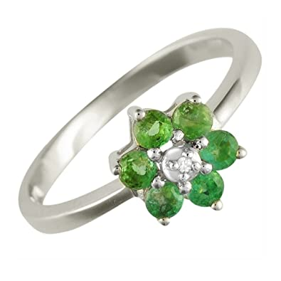 Ivy Gems 9ct Yellow gold Emerald and Diamond Fancy Cluster Ring Size P QsJdM