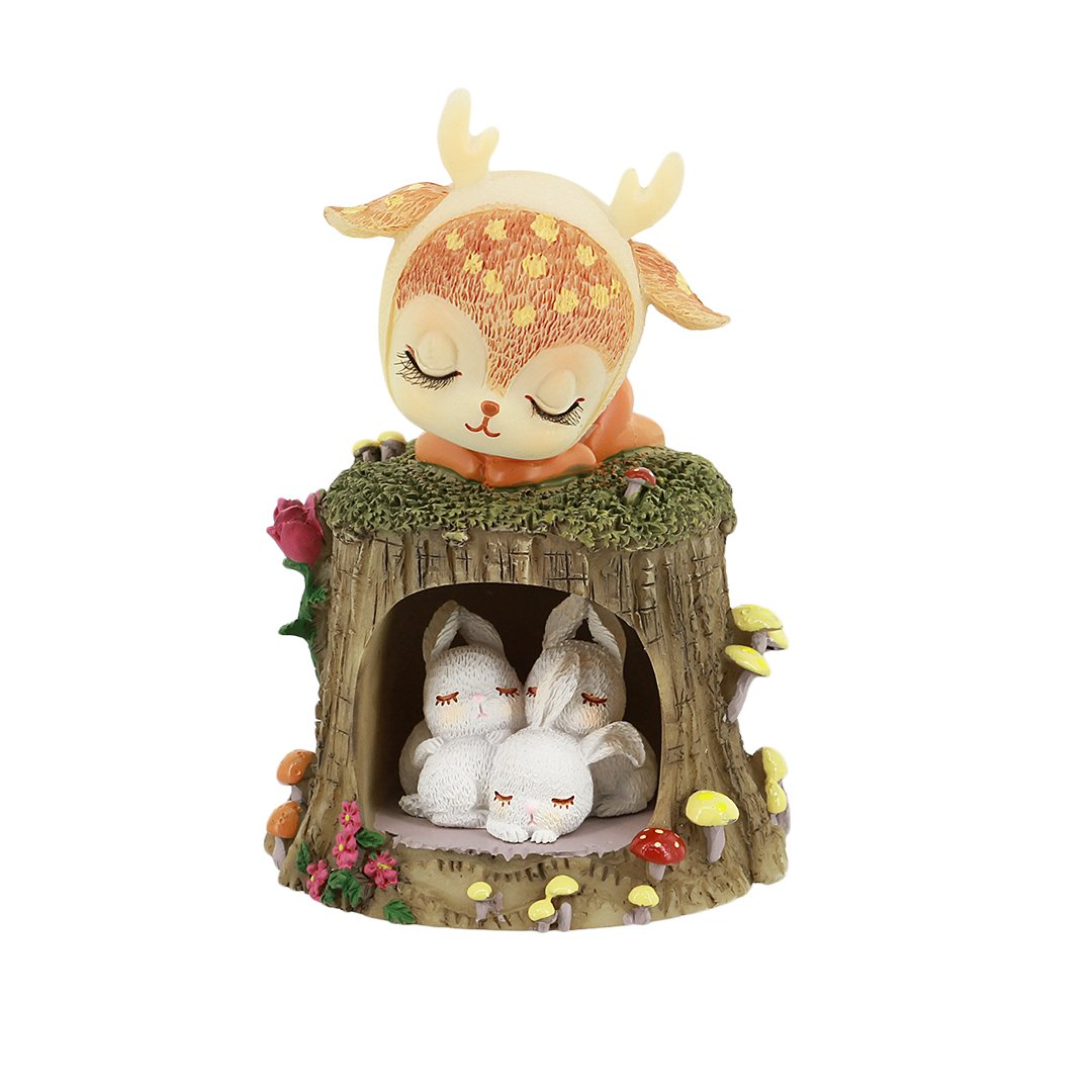 Macinta Natural Resin Lovely Animals Doll Craft Ornaments Home Decoration Office Decor(The Sleeping Deer) Perfect Gift