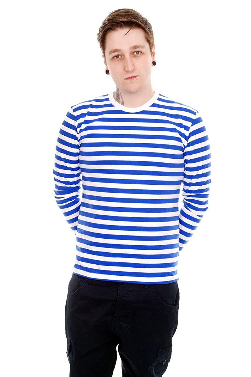 1930s Style Mens Shirts  Royal & White Striped Long Sleeve T Shirt $29.95 AT vintagedancer.com