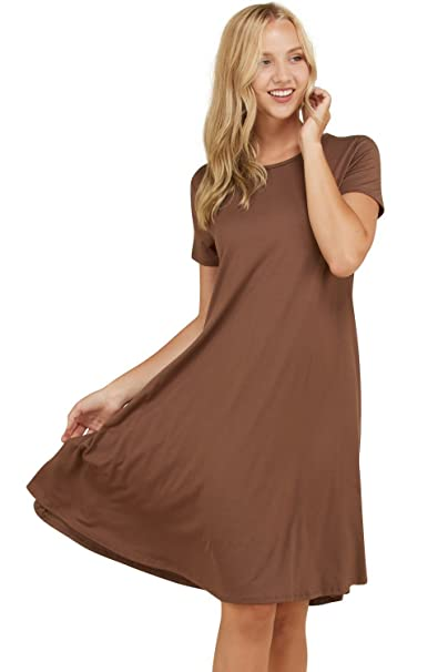 0683a3eceae Annabelle Women s Loose Flowy Fall Mid Length Casual Dress Brown Small D5213