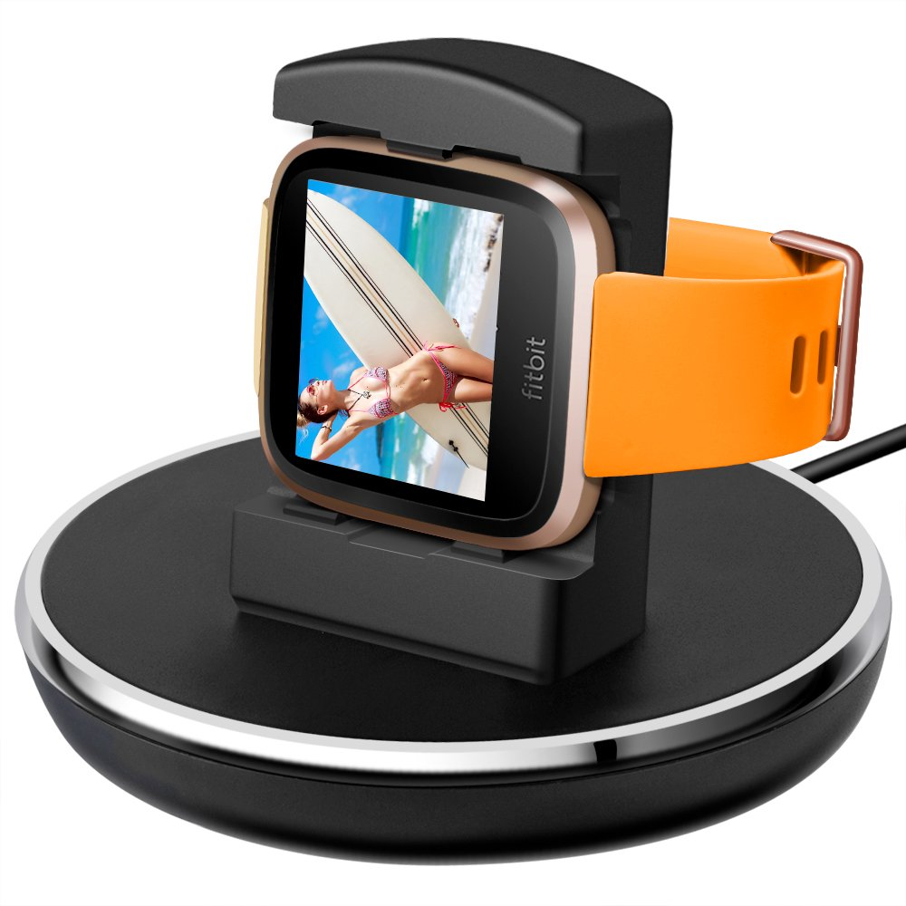 Compatible Fitbit Versa Charger, EPULY Compatible Fitbit Versa Accessories Charging Stand Dock Station Holder Cradle TPU Protective Hook 3 Feet USB Cable Compatible Fitbit Versa Smartwatch Black