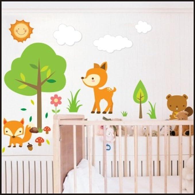Los niños de animales del bosque de pared con diseño de pegatinas con texto en inglés adhesivo de pulsera para niños de la sala de pared con diseño de pegatinas con texto