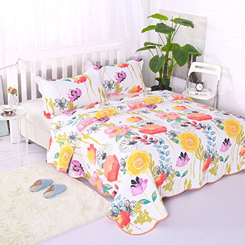 Poppies Quilt Fabric (Artextile Yellow Floral Poppy Bedding Reversible Coverlet Bedspread 3-Pieces Quilt Set ,Queen Size)