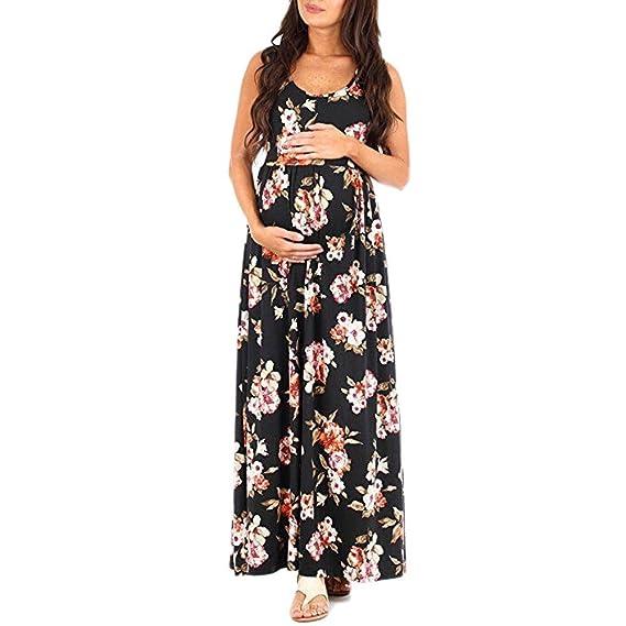ALIKEEY Las Mujeres Embarazadas Sin Mangas O - Fotografía Atrezzo Floral Impreso Vestido De Enfermería Maternidad