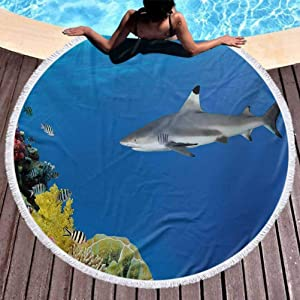 """Circle Beach Towel Shark Oversized Beach Towel Tropical Underwater World with Fishes Swimming and Coral Reef Serene Wildlife Picture with Tassel ,High Color fastness Multicolor (Diameter 59"""")"""