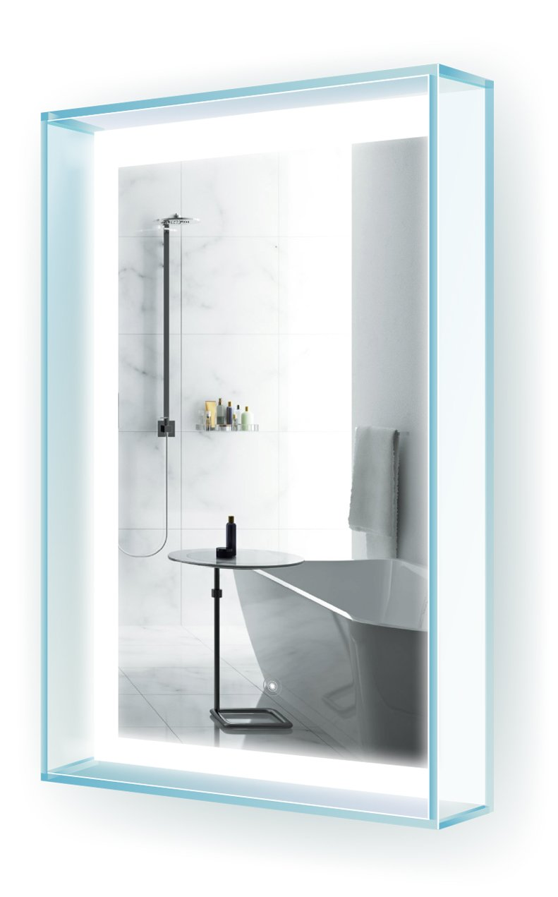 LED Bathroom Mirror 20 Inch X 31 Inch | ''GlasHaus'' Lighted Vanity Mirror w Glass Frame & Shelf | Wall Mount by Krugg