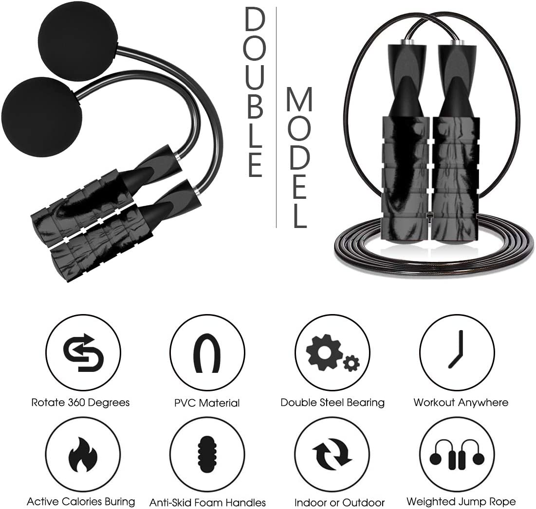 Length Adjustable Skipping Rope with Anti-Slip Memory Sponge Handles for Men Jump Rope Training Ropeless Bod Rope for Fitness Kids GOMI Weighted Cordless Jump Rope Women