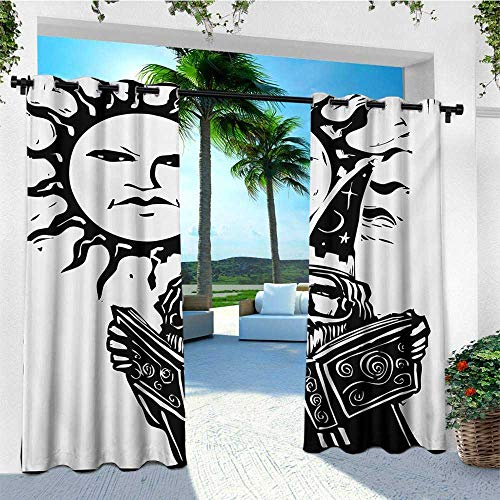 (leinuoyi Fantasy, Outdoor Curtain Set, Wizard Reading Magic Book Beneath The Sun with Face Sacred Spiritual Legend Image, Fabric W108 x L108 Inch Black White)