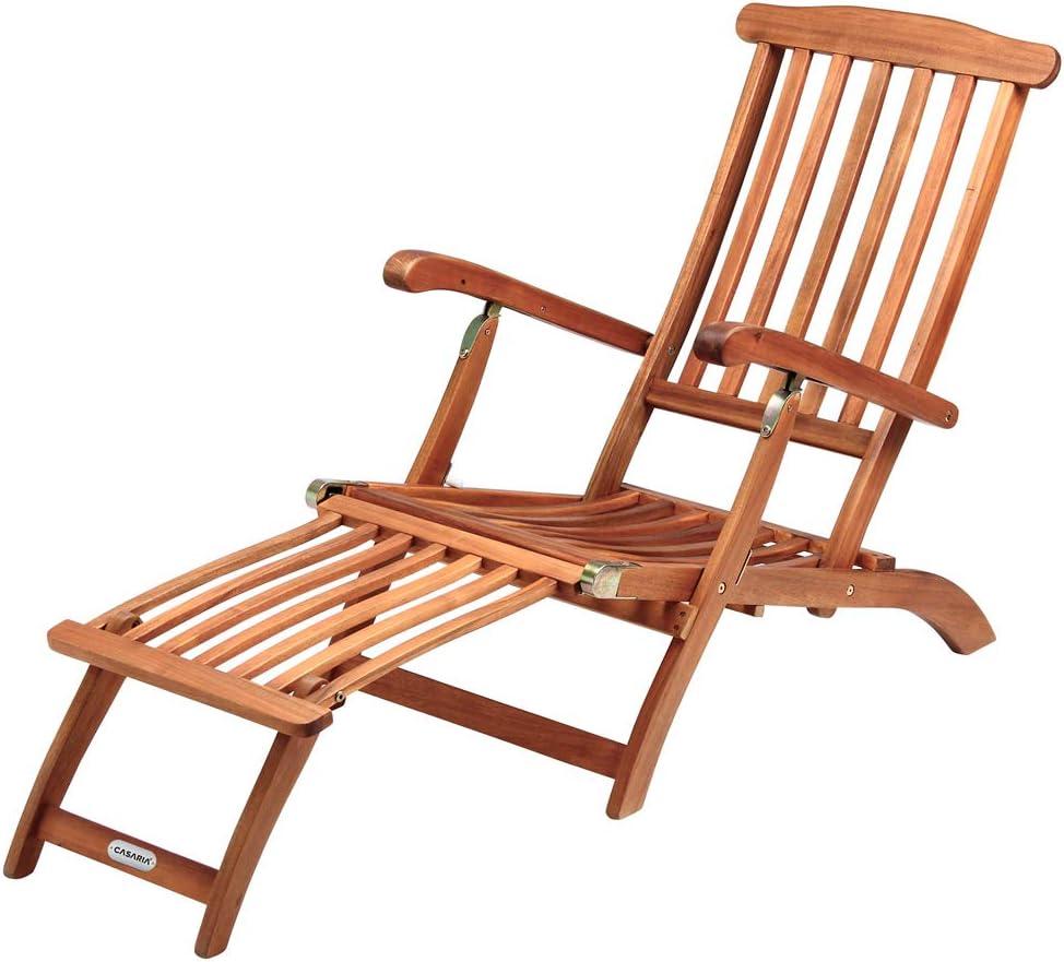 Deuba Chaise longue Queen Mary de madera de Acacia con reposapiés reposabrazos respaldo ajustable silla exterior