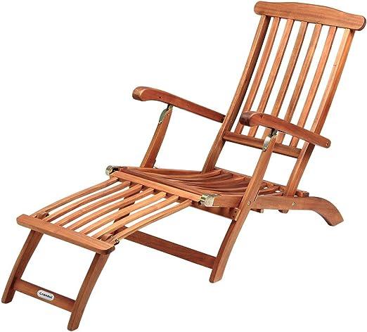 Deuba Chaise longue Queen Mary de madera de Acacia con reposapiés reposabrazos respaldo ajustable silla exterior: Amazon.es: Jardín