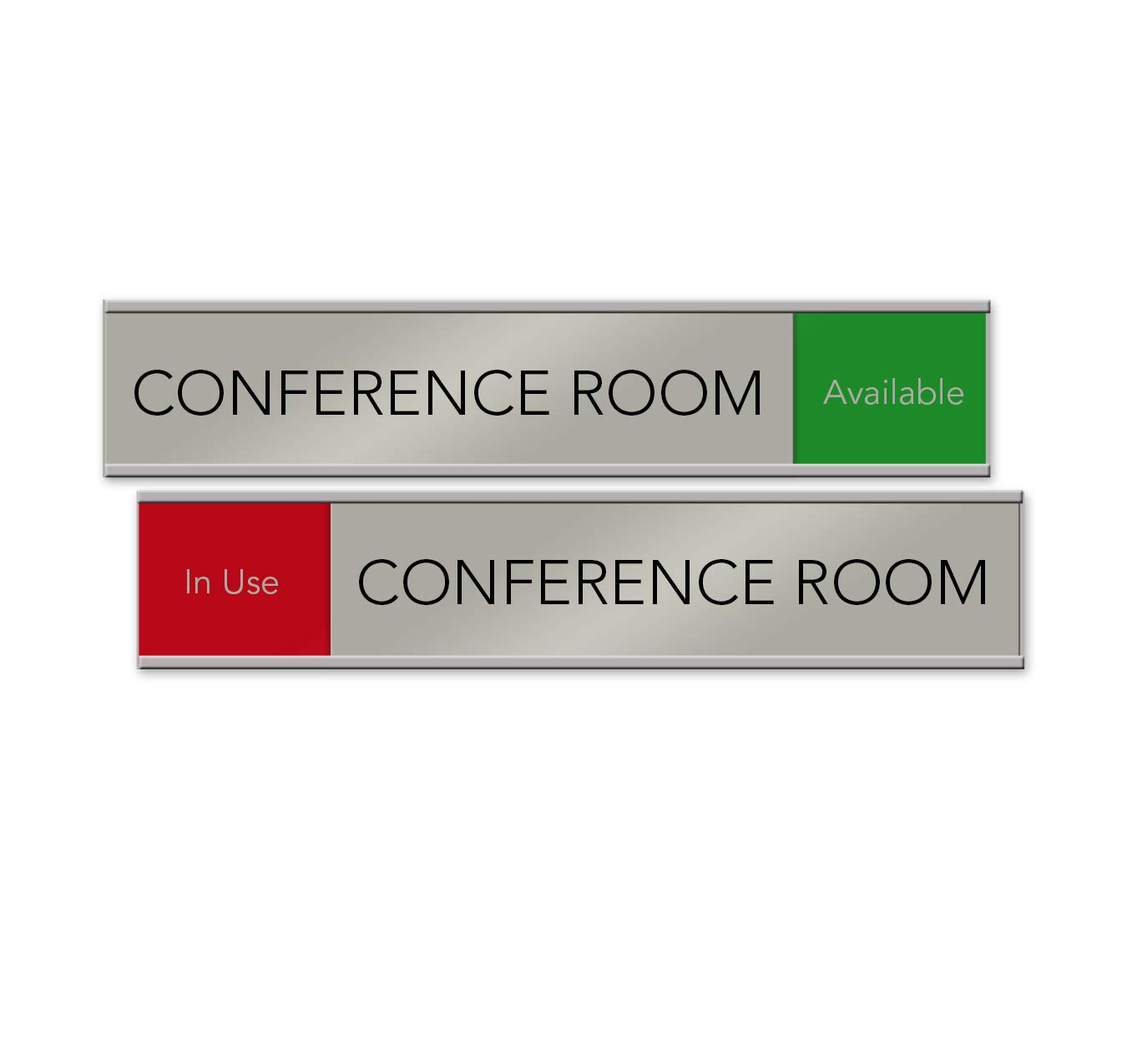Quality Satin-Aluminum Conference Room Slider Signs - 10 x 2 - Made in The USA (Red/Green) by NapTags