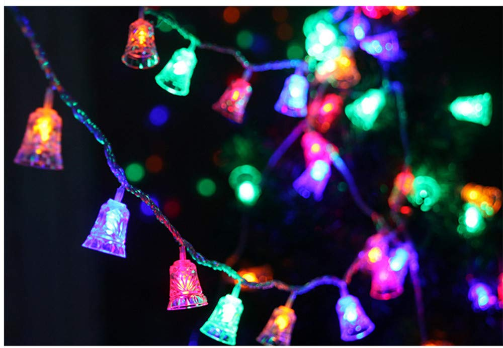Christmas LED Bell Lights 1.2M Solar Powered 8 Modes Plug In LED Fairy Lights Christmas Tree Light for Home decoration (Multicolor)