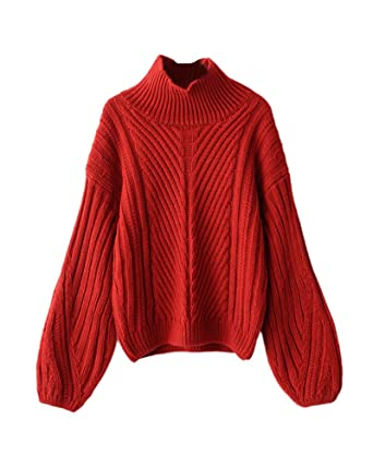 san francisco 2101d 27e85 Damen Strickpullover Sweater Rollkragen Pullover Kuscheliger Jumper Strick  Pulli Oversize Rot M