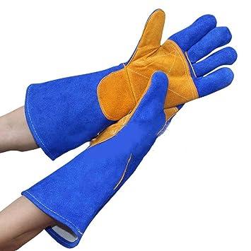 Guantes de soldadura de cuero largos para soldador / aislamiento de soldadura guantes de protección resistentes al desgaste: Amazon.es: Hogar
