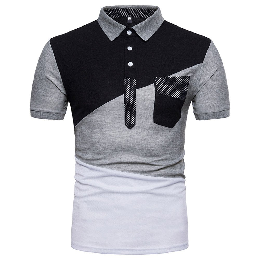 Men's Regular-Fit Cotton Pique Polo Shirt Gray by Vickyleb Summer Shirts