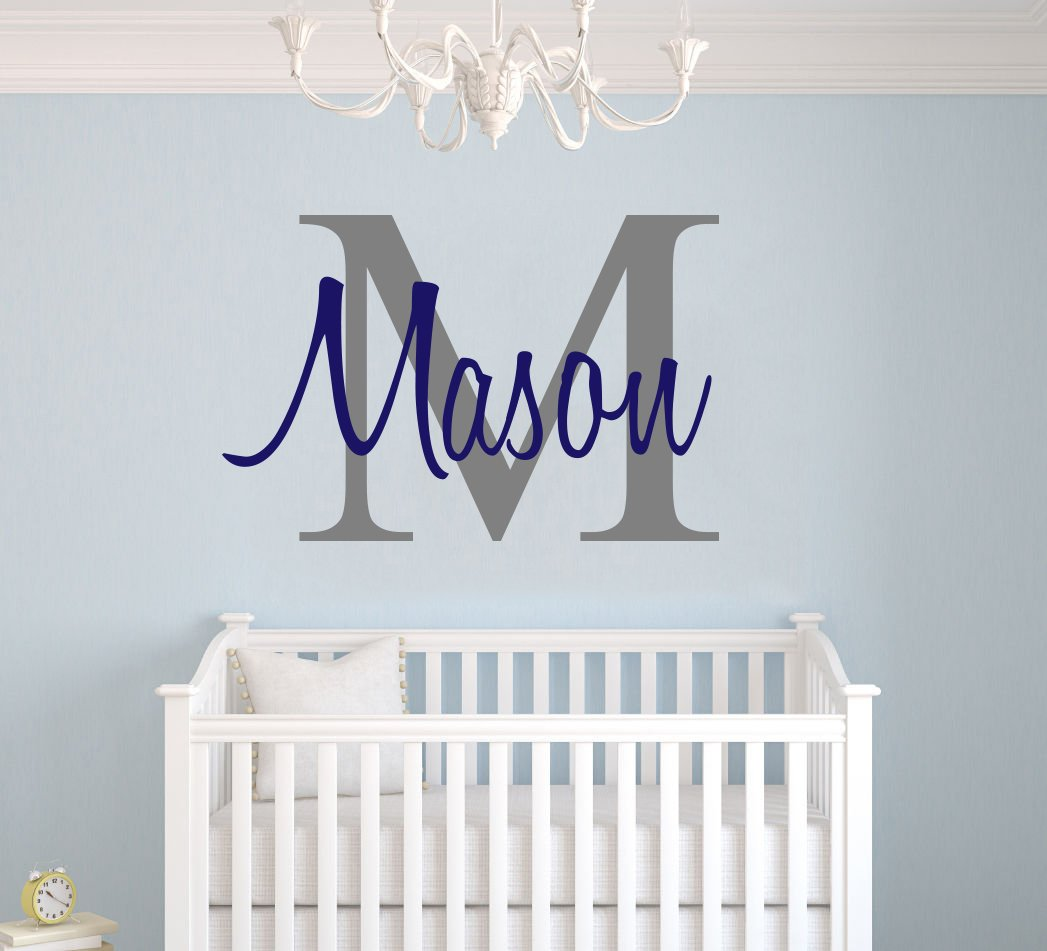 Custom Name & Initial - Premium Series - Baby Boy - Wall Decal Nursery for Home Bedroom Children (M511) (Wide 30'' x 20'' Height)
