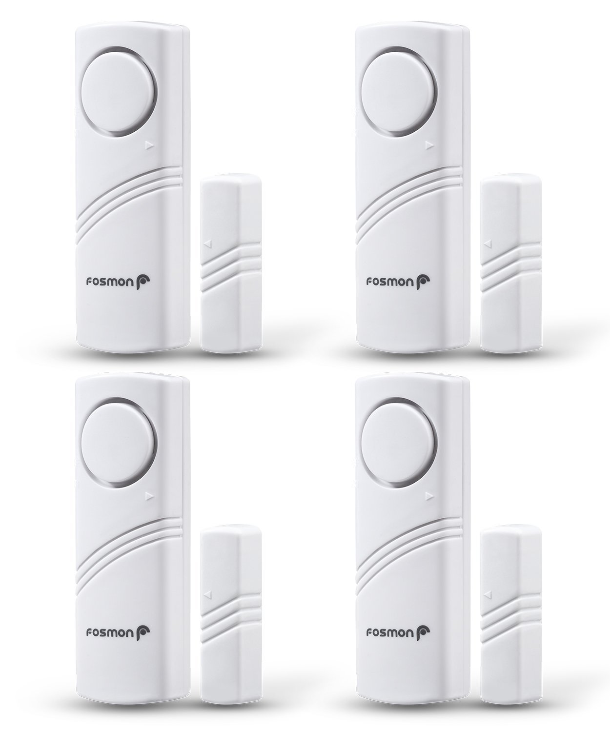 Fosmon Wireless Window and Door Entry Alarm Safety System, Burglar Security Alert Sensor, Easy to Install Battery Operated Loud 115db Siren for Home, Business, Doors, Windows, Garages - 4 Pack