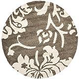 Safavieh Florida Shag Collection SG458-7913 Smoke and Beige Round Area Rug (6'7″ Diameter) Review