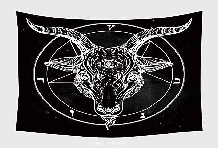 Decoración para el hogar Tapiz colgar en la pared Pentagram con demonio diabólico de Baphomet Cabra