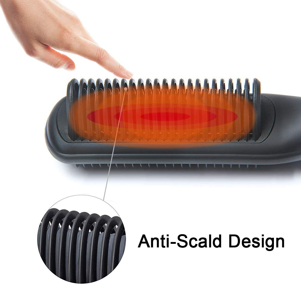 Megadream Hair Straightener Brush Straight Hair Comb and Curly Hair Comb, Portable Ceramic Heating Straightening Irons Brush, 2 in 1 Straight & Curly Hair Comb, Hot-Air Electric Hair Brush