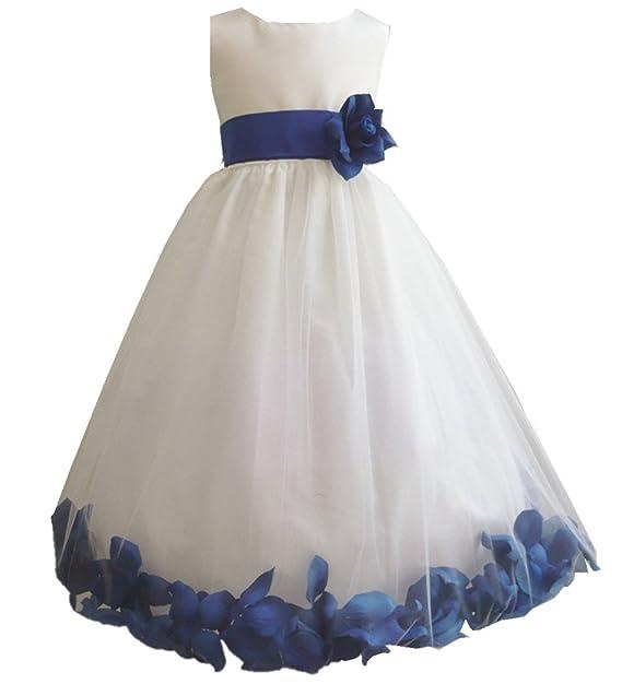 L-Peach Vestido de Princesa Blanco para Niñas con Flor para Cumpleaños Fiesta Boda Ceremonia