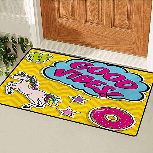 Good Vibes Front Door mat Carpet Fantastic Colorful Fun Design Cute Magic Unicorn Speech Bubble Stars and Donut Machine Washable Door mat W19.7 x L31.5 Inch -