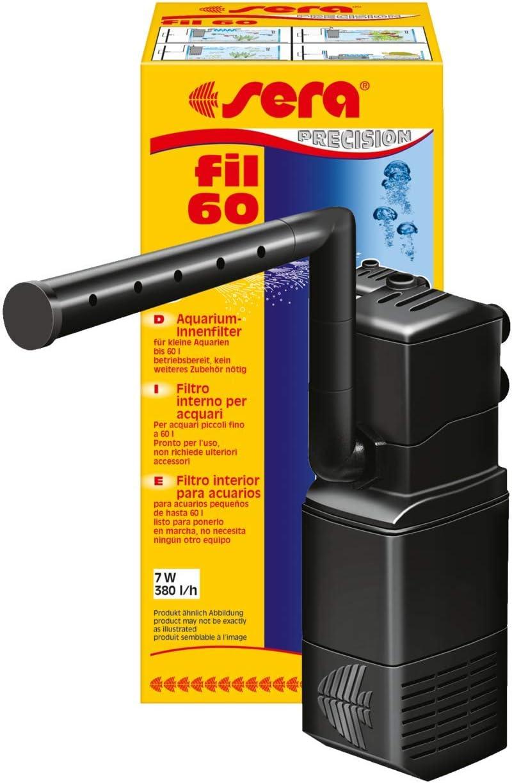 Sera Filtro Interior de Acuario Fil 60 06843, 380l/h para acuarios de hasta 60litros, con Estructura Modular con Filtro (con Esponja y carbón Activo)