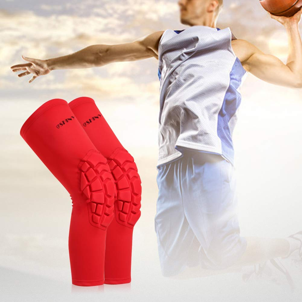 Perfect Joint Pain Relief for Contract Team Sports Knee Braces for Men /& Women Athlete Volleyball Football Baseball Softball Cycling Red, S ShinyPro Knee Compression Sleeves with EVA Padding