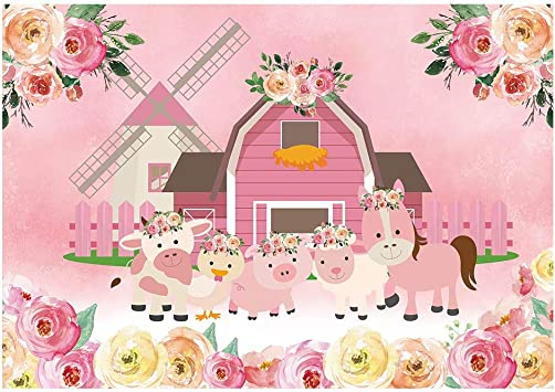 Pink Farm Animals Birthday Party Banner Happy Petting Zoo Fall Barn Girl 1st 2nd 3rd 4th 5th 6th 7th Boogie Bear Invitations Paisley Theme