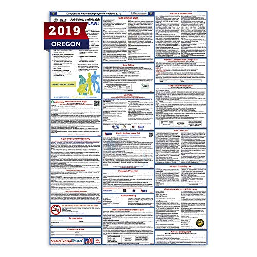 Oregon Form - 2019 Oregon State and Federal Labor Law Poster - Laminated 27