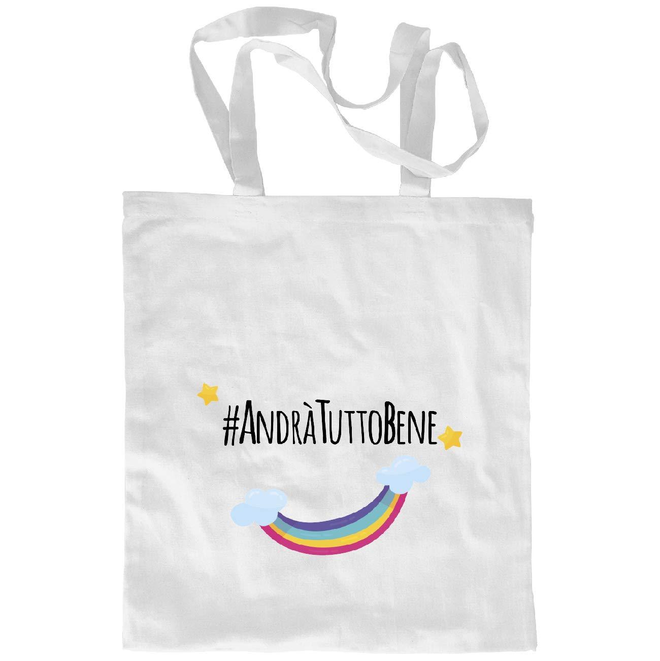My Custom Style Borsa Shopper Cotone Bianca#andr/à Tutto Bene# M70