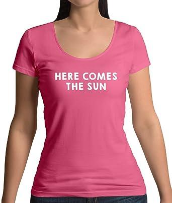 9f62e9802f8c Amazon.com  Here Comes The Sun - Womens Scoop Neck T-Shirt - 7 ...