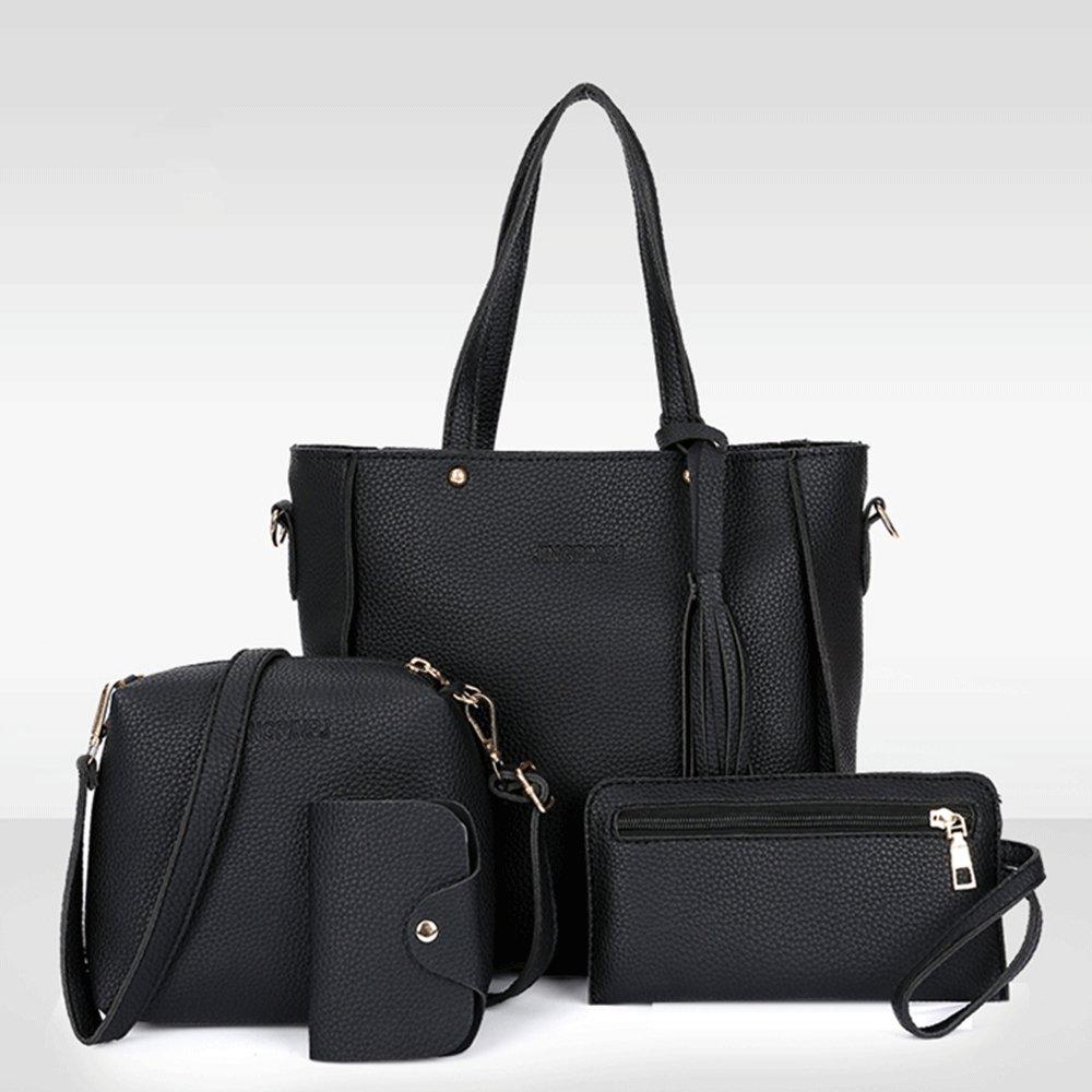 3086d573fc Amazon.com  Vin Beauty Womens Fashion Handbag+Shoulder Bag+Purse+Card  Holder 4pcs Set Tote Handbag Cosmetic Bag  Clothing